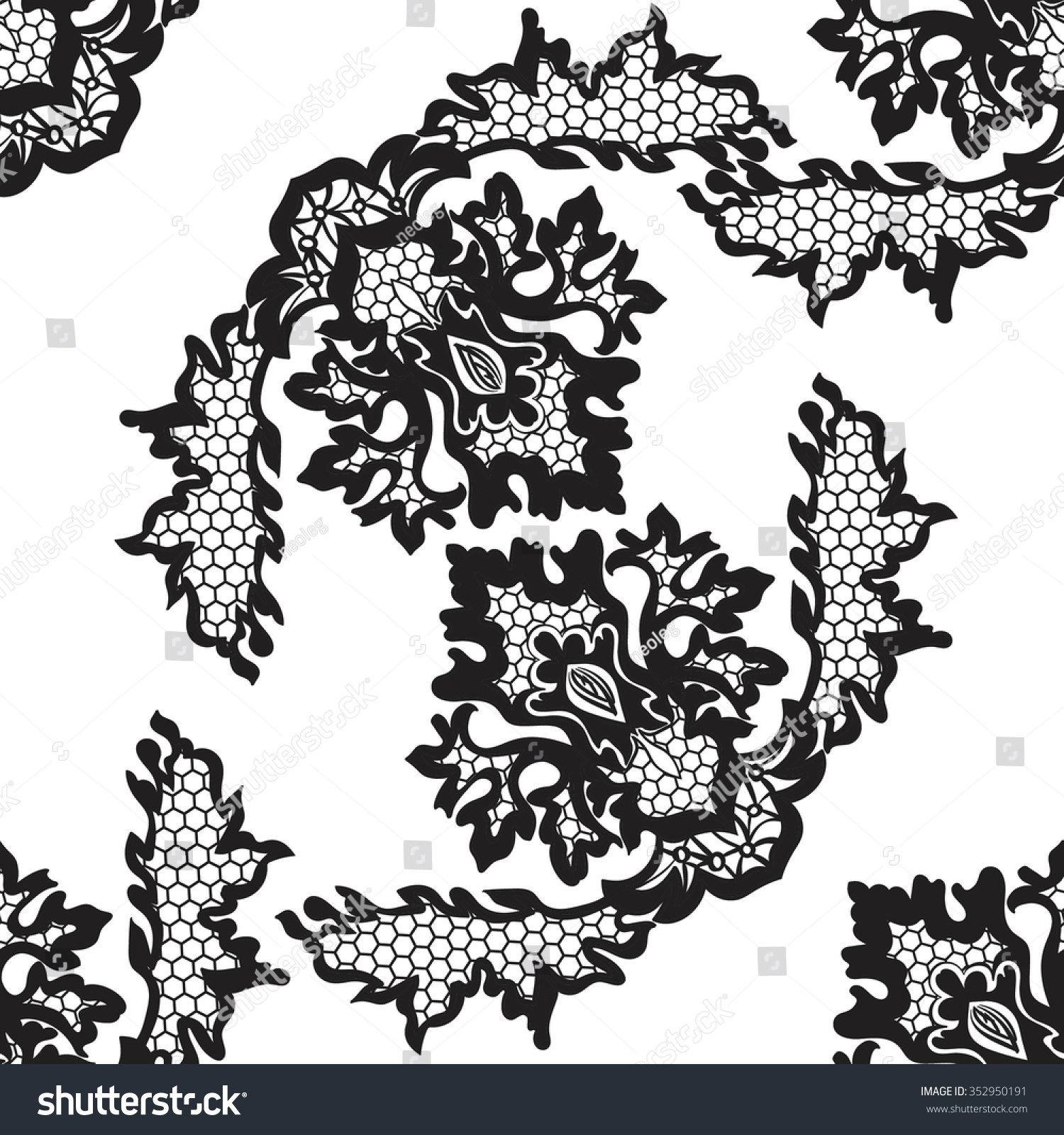 Abstract Vector Seamless Pattern With Lace Flowers Ez Canvas