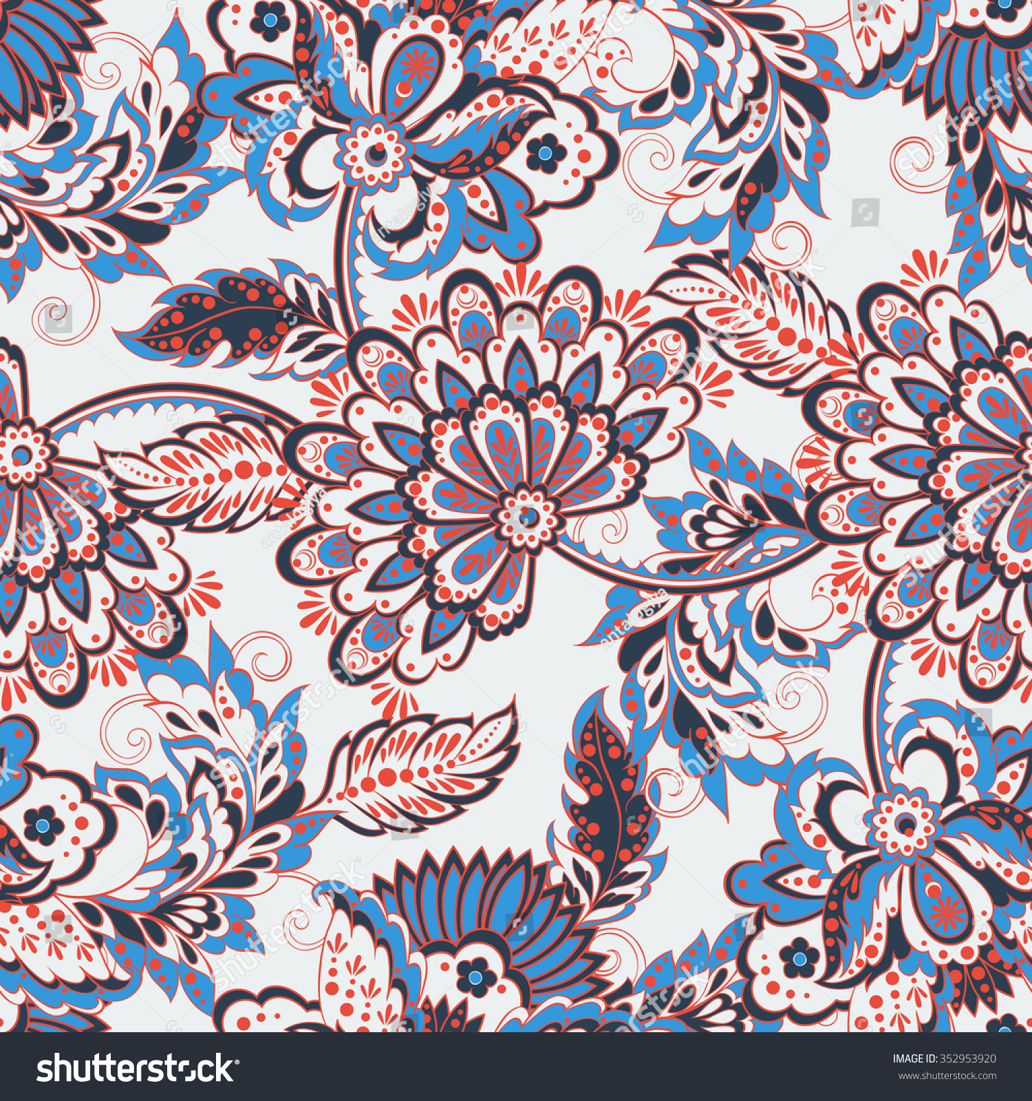 Vintage Pattern Indian Batik Style Floral Stock Vector