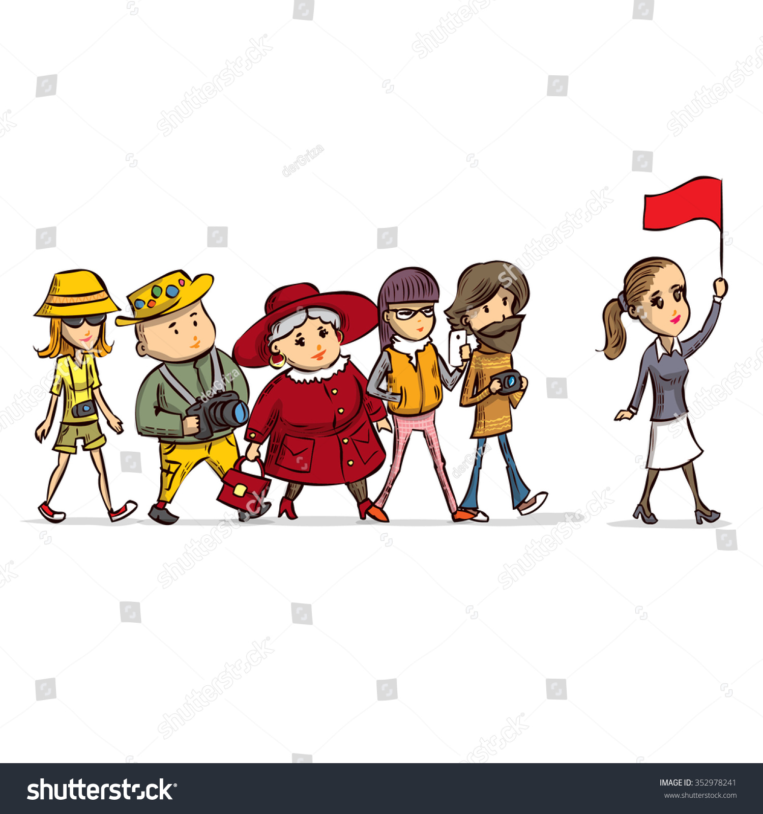 Tour Guide Group Turists Hand Drawn Stock Vector 352978241 ...