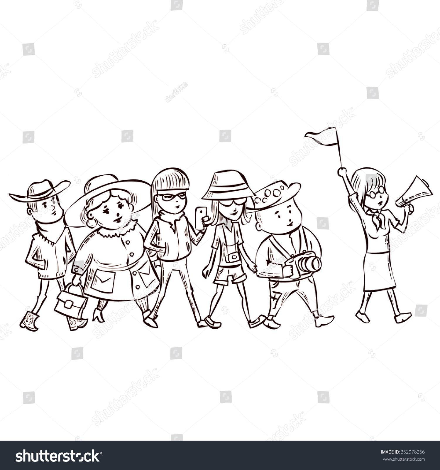 tour guide group turists hand drawn stock vector royalty free