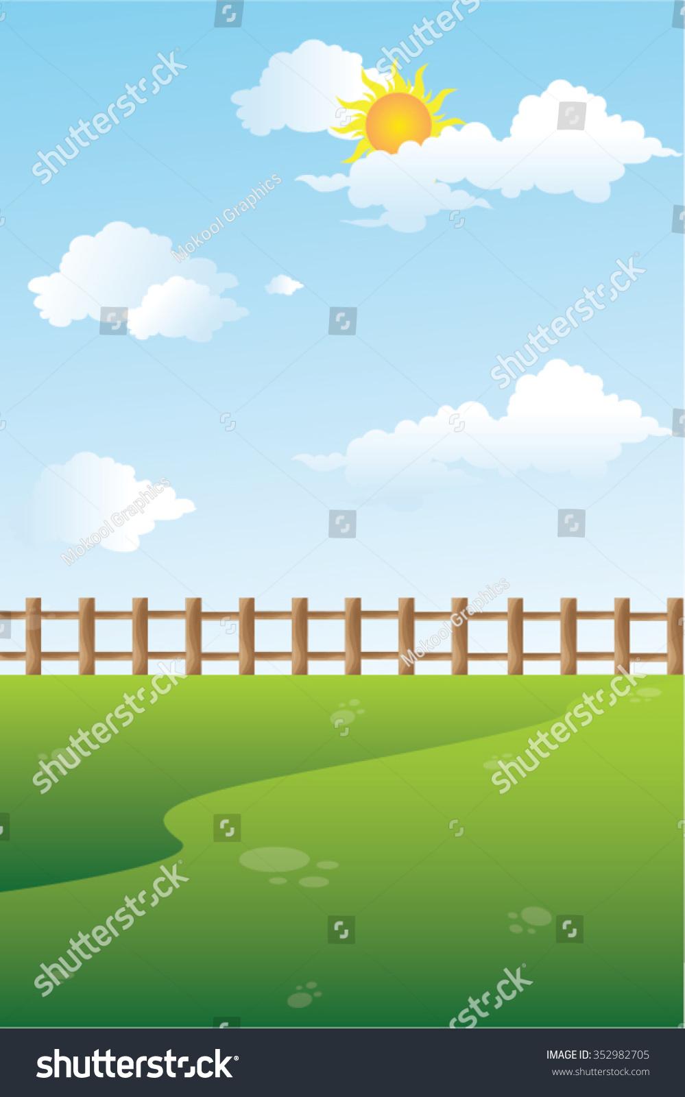 outside backyard view sky sun clouds stock vector 352982705
