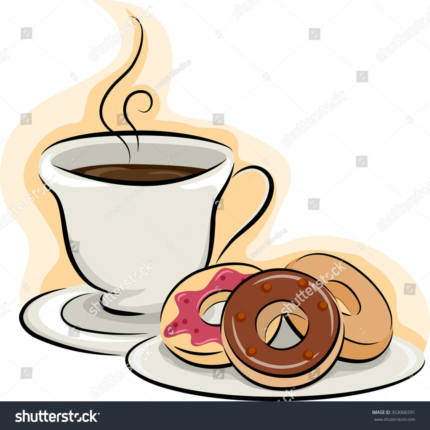 Cartoon Doughnut Factory: Illustration Cup Coffee Sitting Beside Plate Stock Vector
