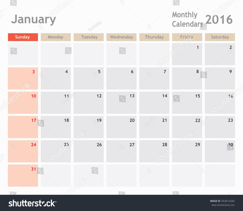 Calendar Planner Vector : January calendar planner monthly calender vector