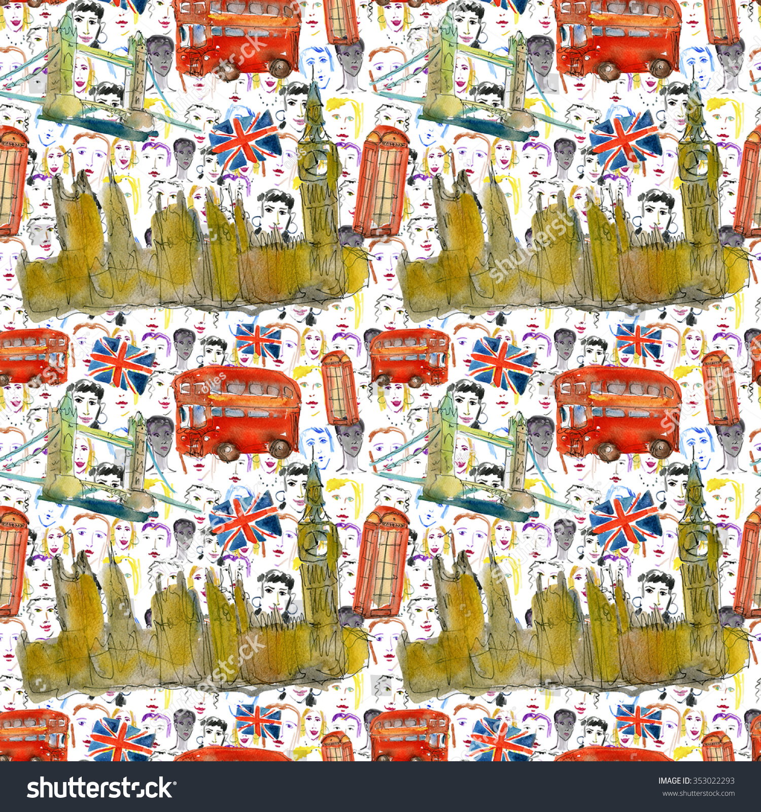 London Icons Seamless Pattern Watercolor Steinsplash Stock