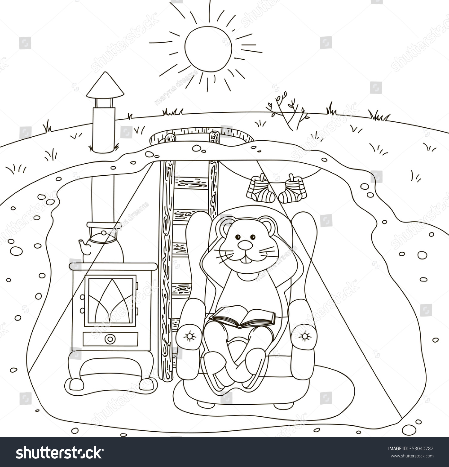 Groundhog Day Coloring Book Sunny Stock Vector 353040782 - Shutterstock