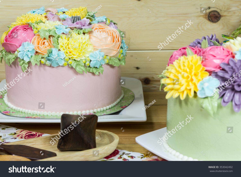 Beautiful Decorative Cake Flowers Stock Photo Edit Now 353042492