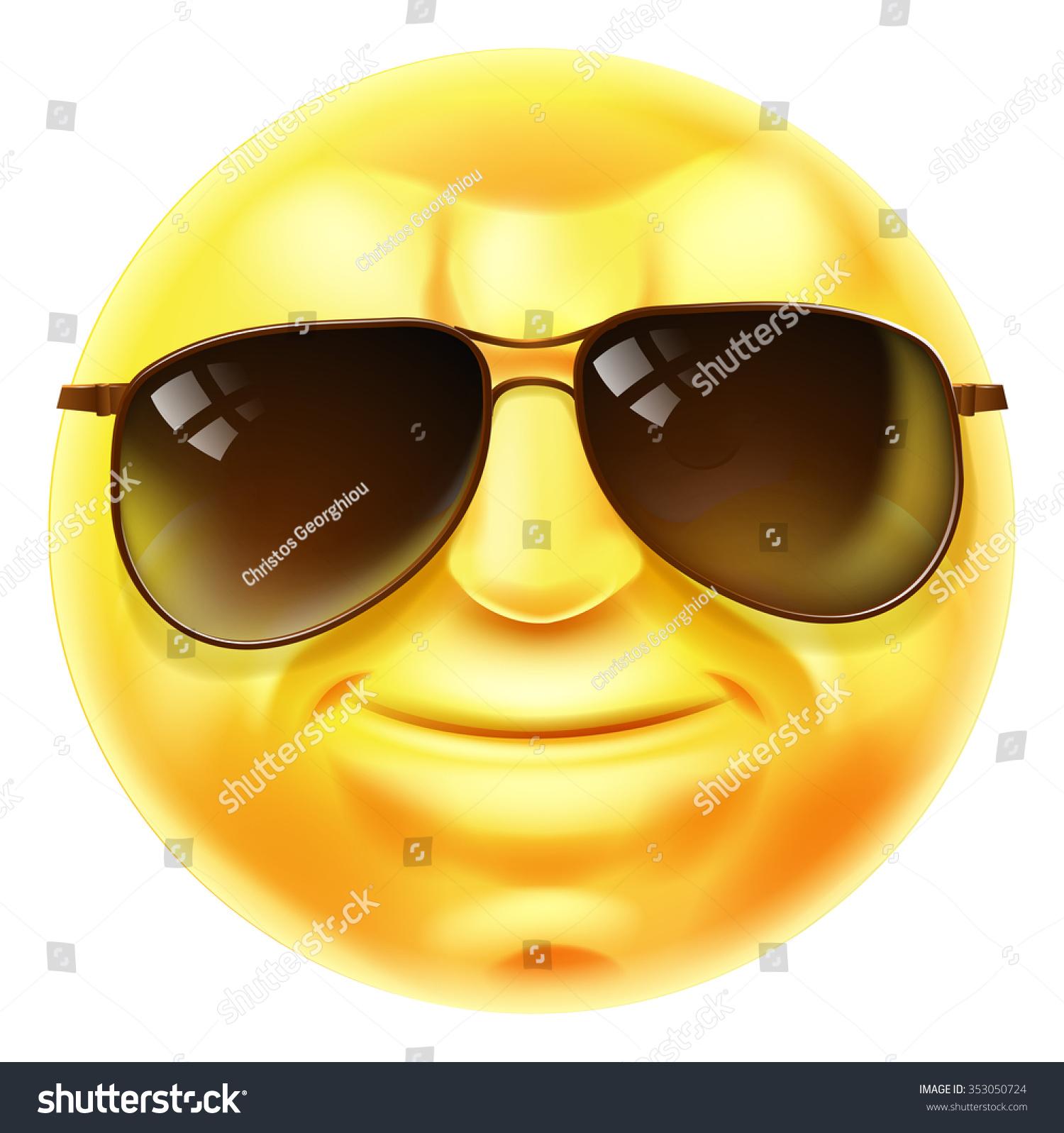 Cool Looking Emoji Emoticon Smiley Face Stock Illustration