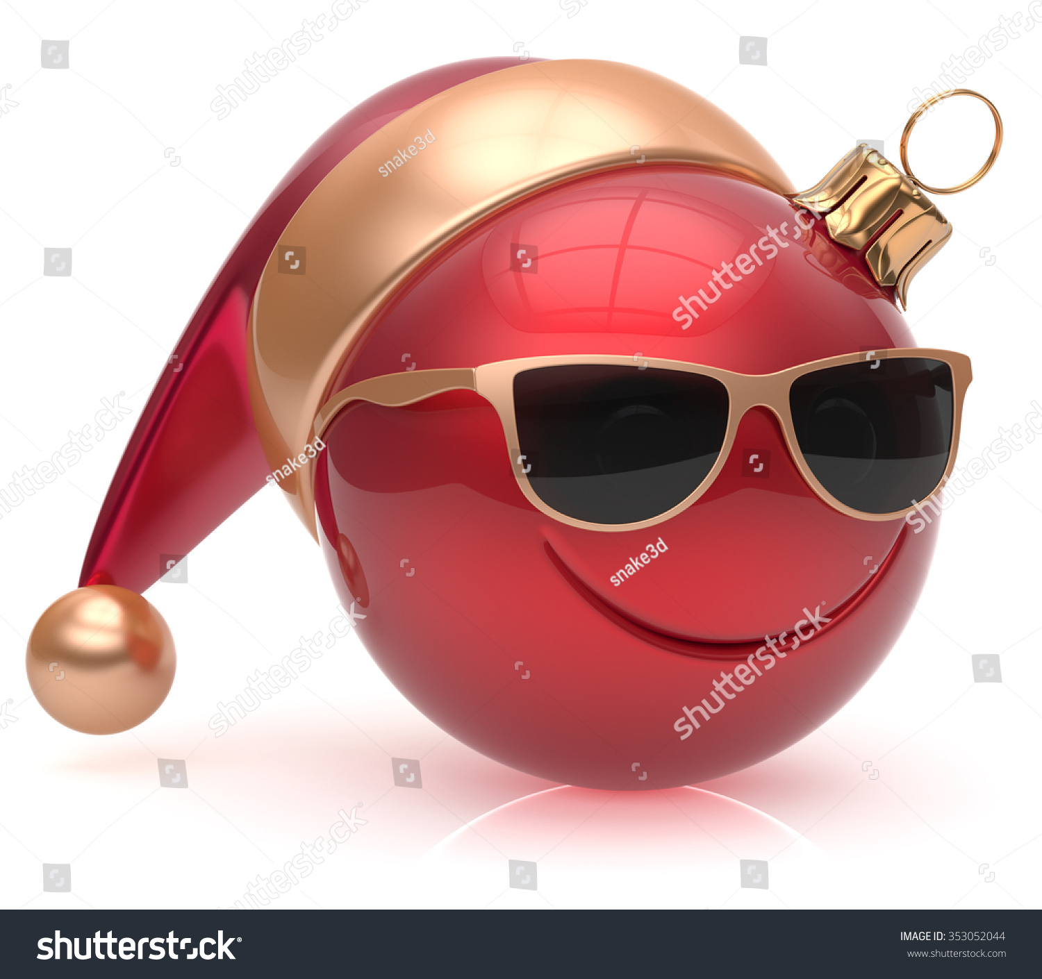 Christmas ball emoticon smiley face eyeglasses adornment