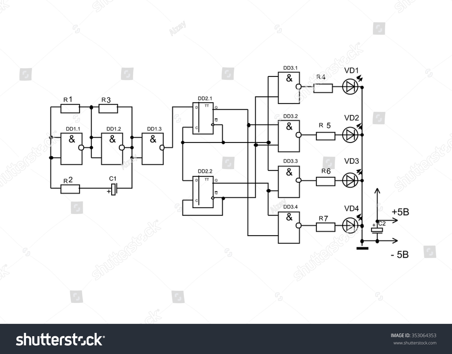 Schematic Diagram Project Of Electronic Circuit Graphic Design Electronics Royalty Free Vector 353064353 Stock