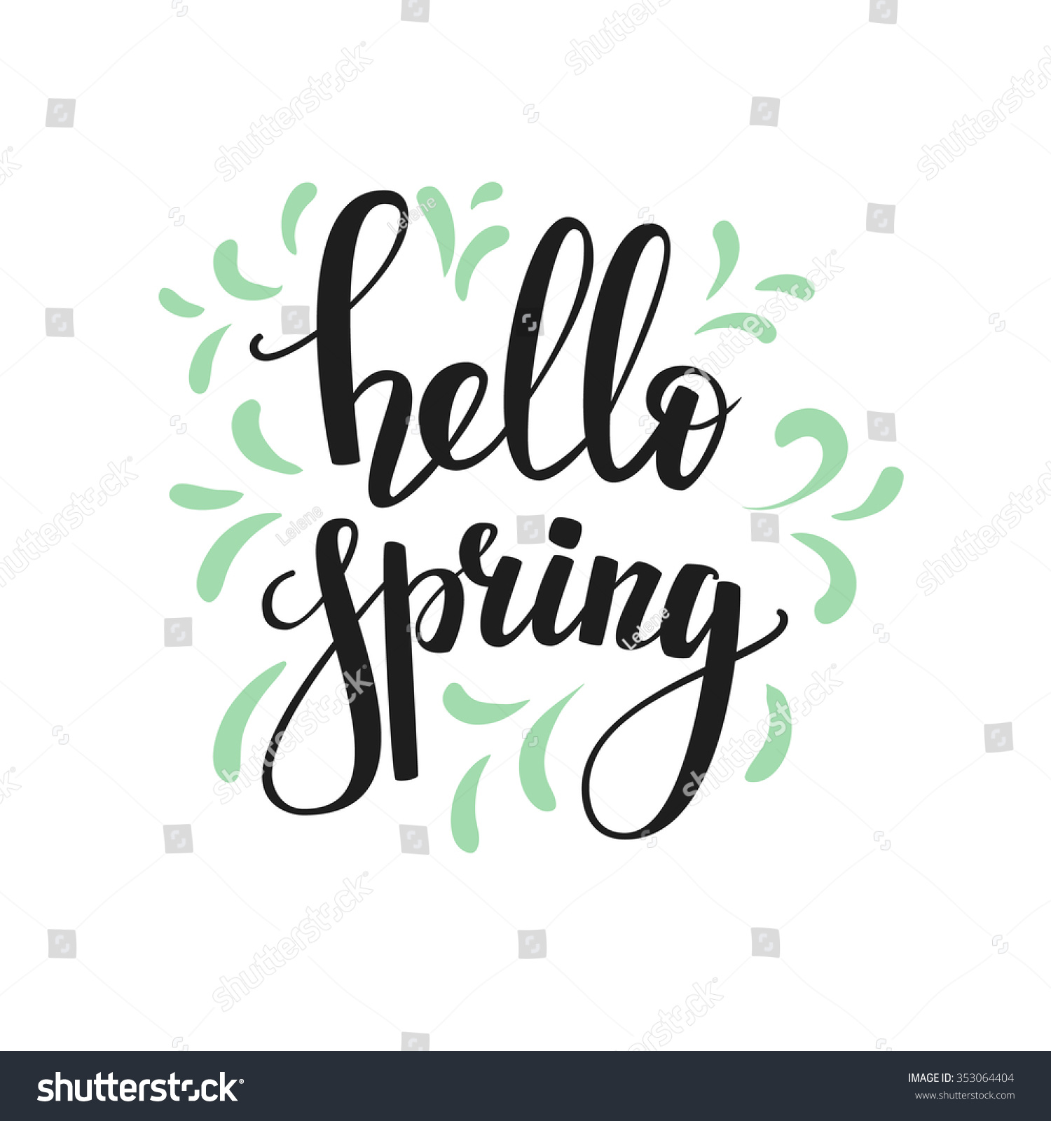 ... calligraphy style spring postcard. Hello spring. Simple vector brush