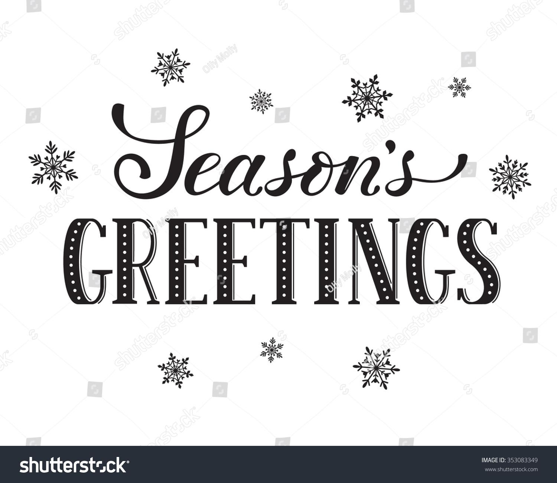 Seasons Greetings Postcard Template. Modern New Year Lettering ...