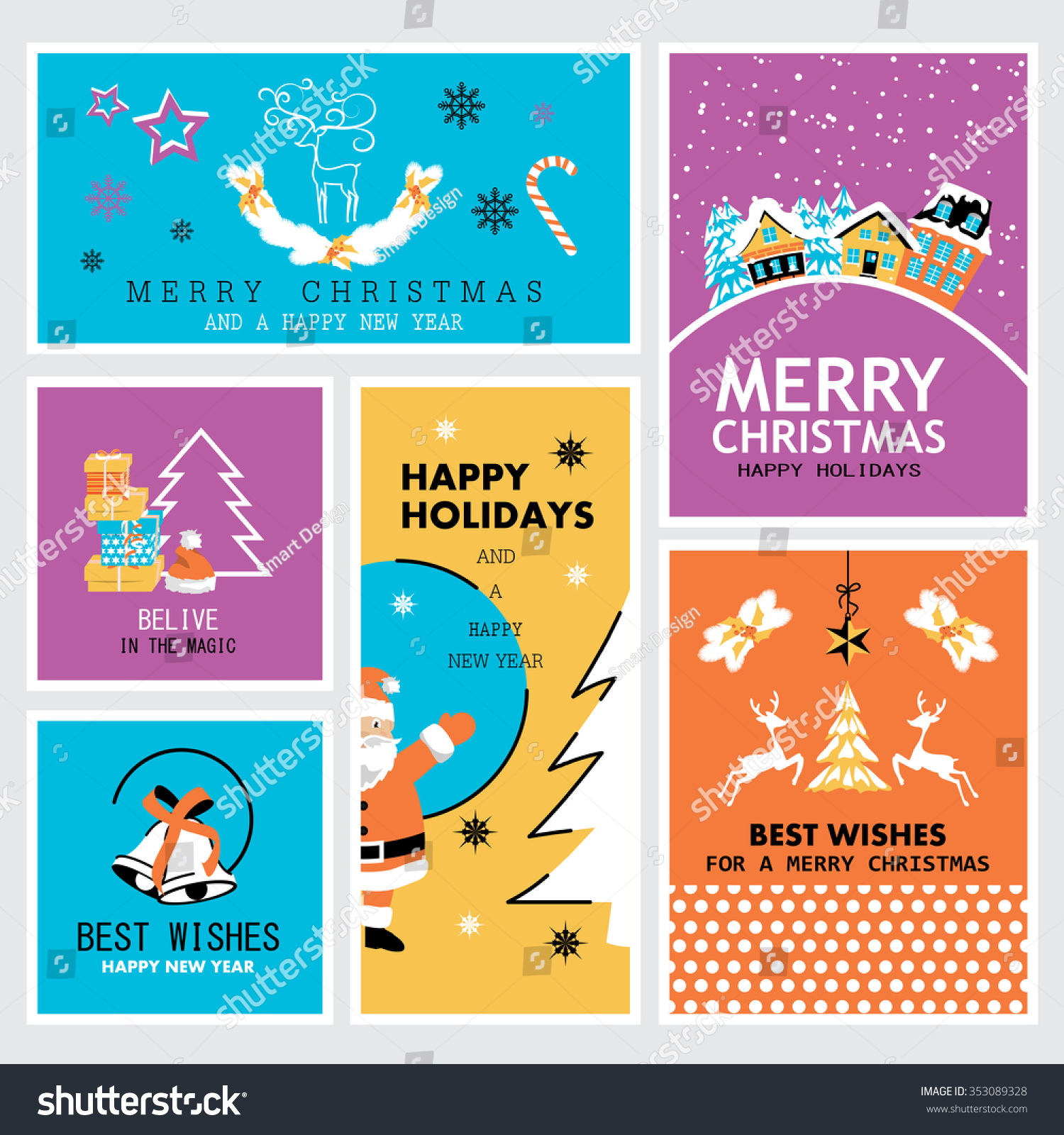 Christmas New Year Banners Set Vector Stock Vector (Royalty Free ...