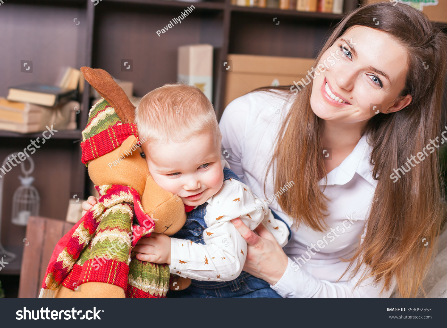 Mom Baby Holding Toy Big Elk Stock Photo (Edit Now) 353092553 ...