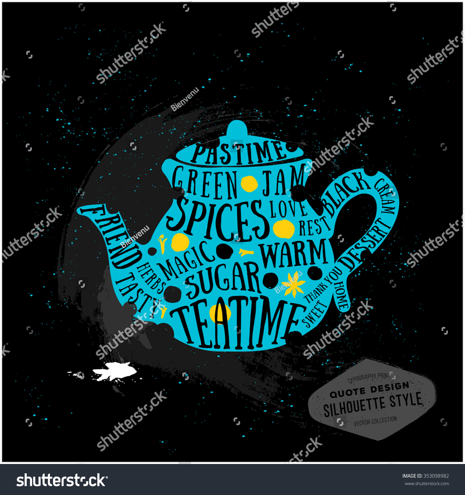 Design t shirt neon colors - Vector Creative Quotes Card Design Teatime Typography Print For Menu Book Signboard Or