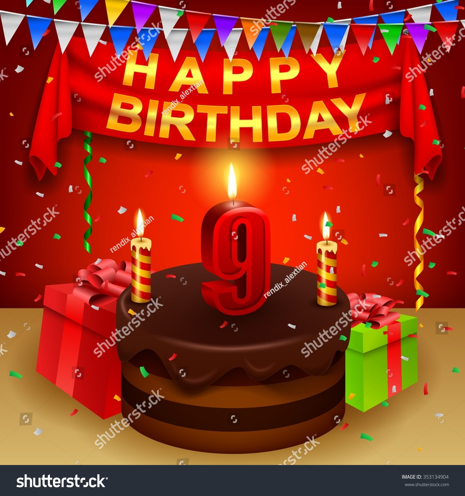 Happy 9th Birthday Chocolate Cream Cake Stock Vector