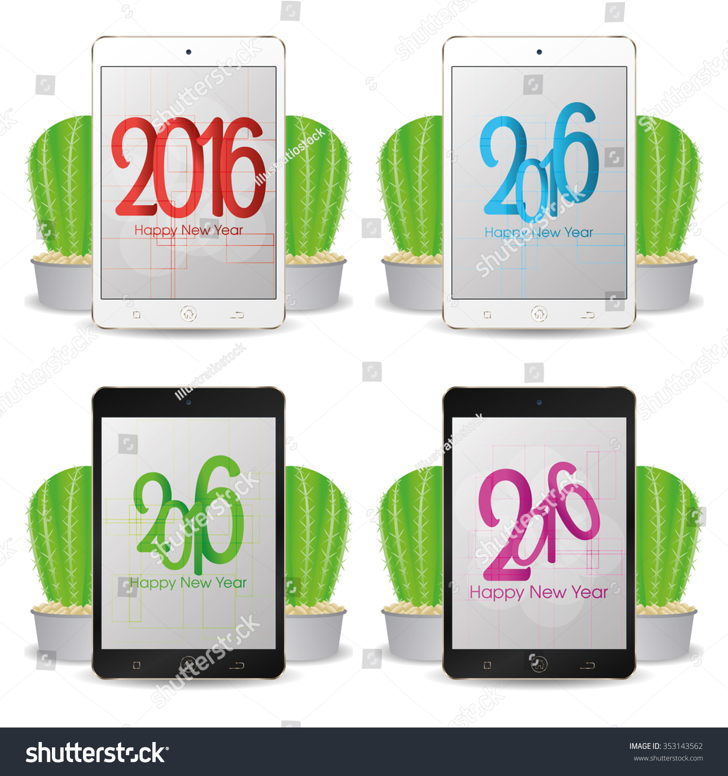 Set of cellphones with new year screensavers