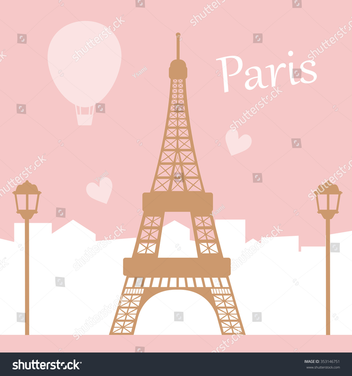 Paris Illustration Eiffel Tower Text City Stock Vector