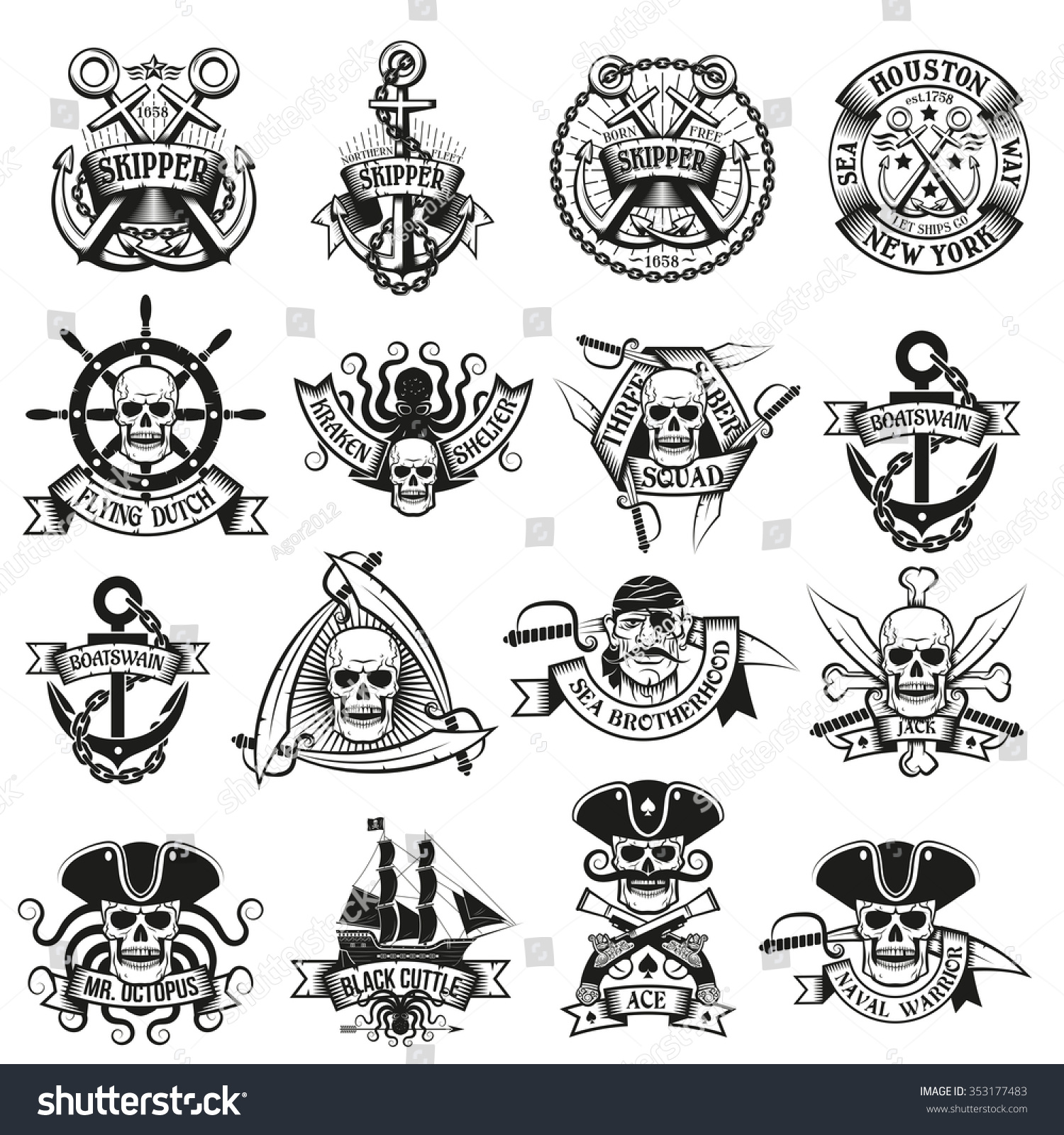 Stock Photo Collection Of Pirate Tattoos With Skulls Swords Belts