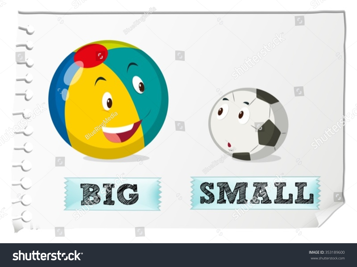 opposite adjectives big small illustration stock vector royalty