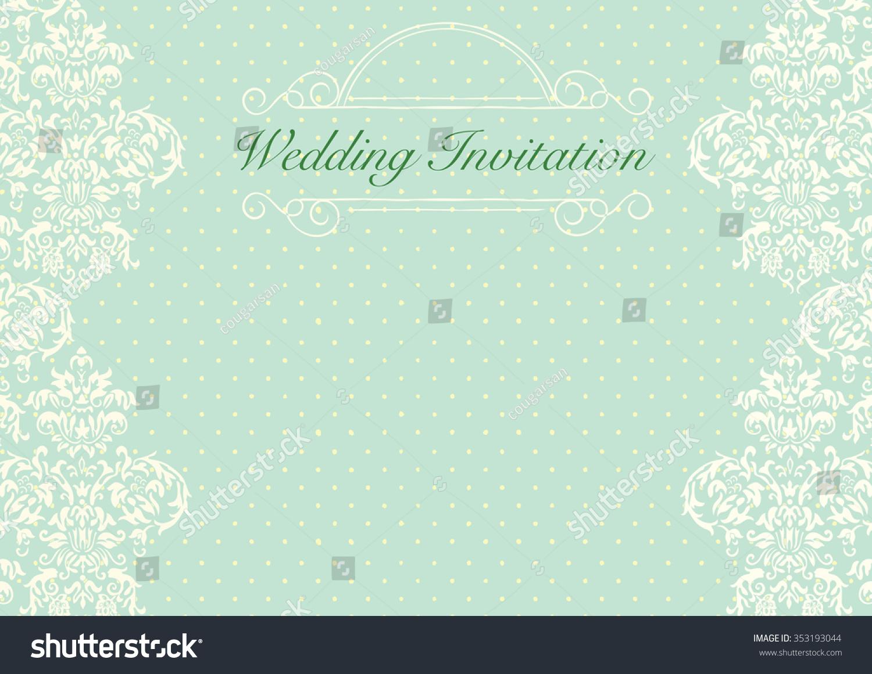 Mint Green Wedding Invitation Background Stock Vector 353193044 ...
