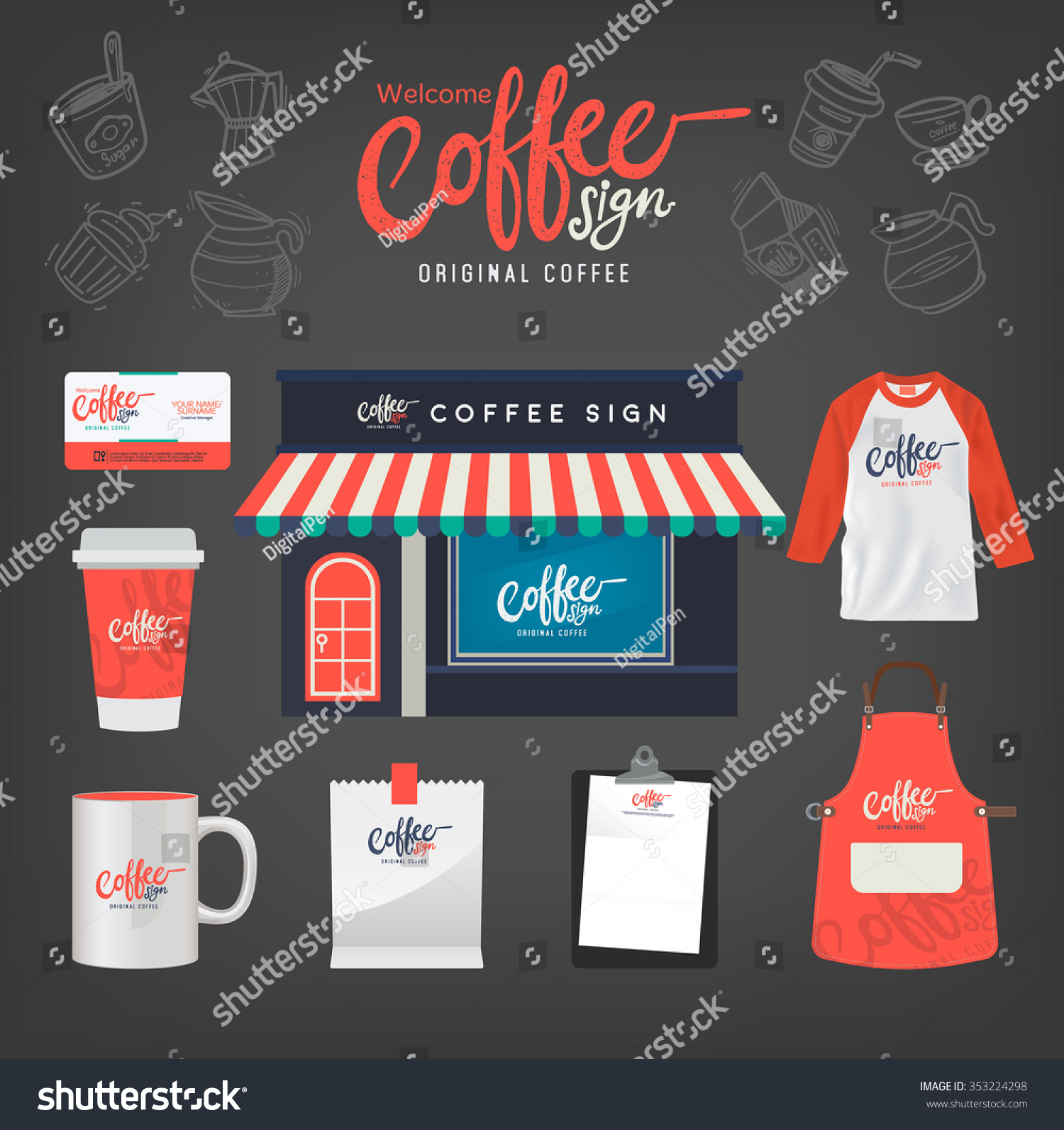 Vector Coffee Restaurant Set Logo Tshirt Stock Vector 353224298 ...
