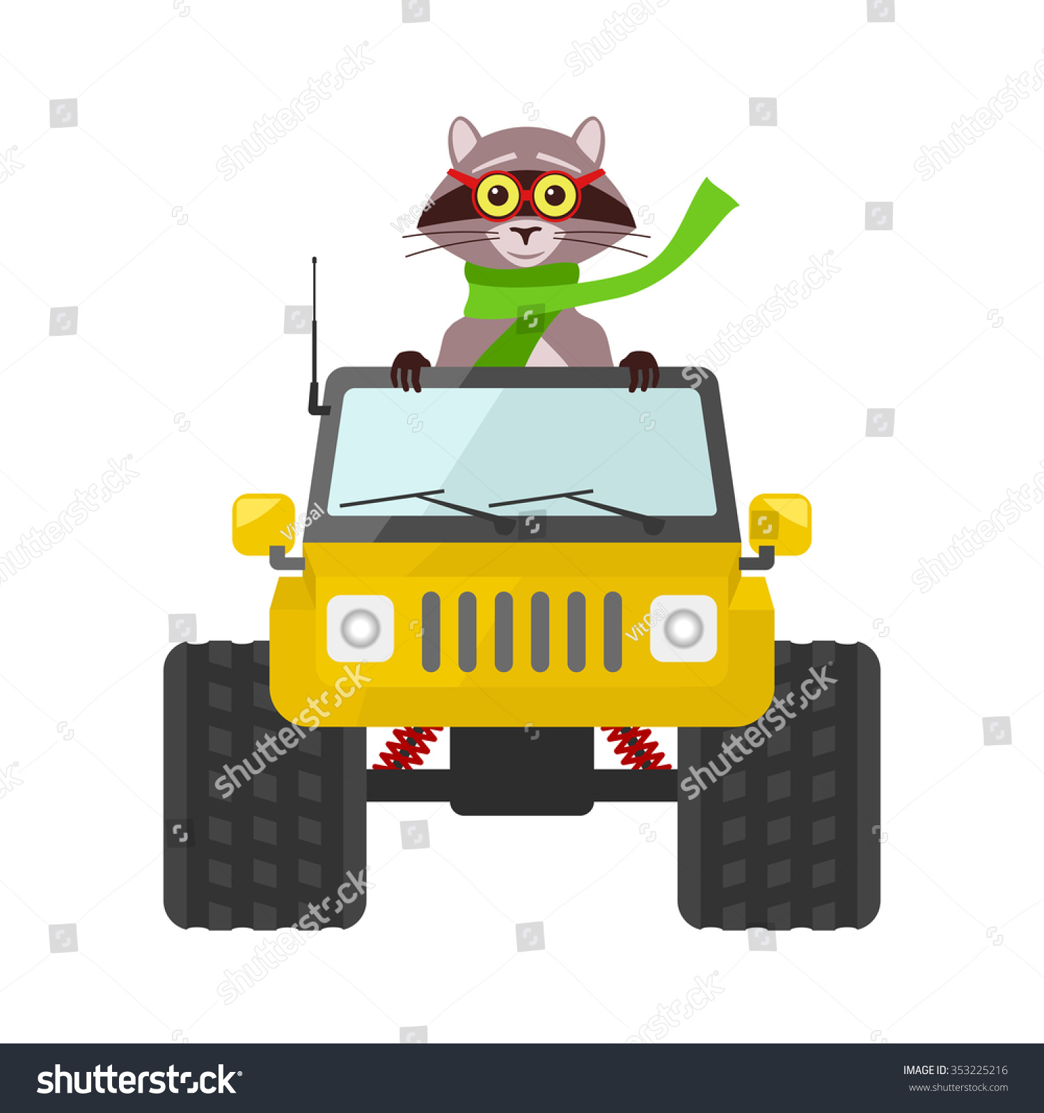 Vector Image Raccoon Driving Yellow Suv Stock Vector