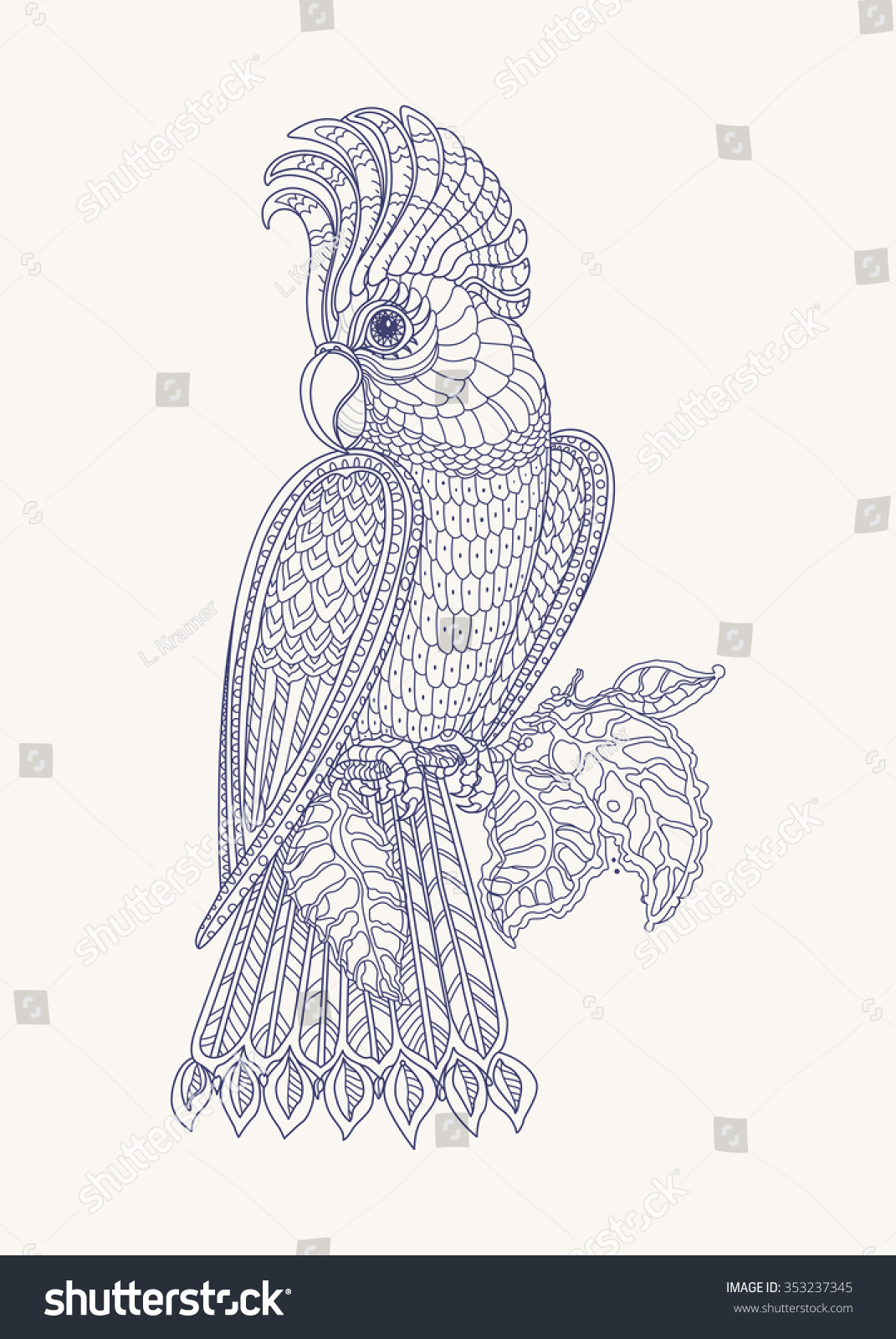 Contour Line Drawing Bird : Exotic bird fantastic branches leaves contour indigo