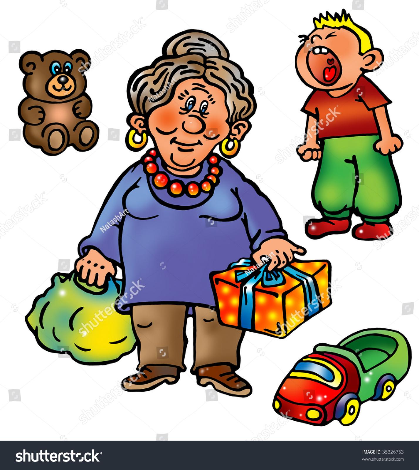 grandmother came her grandson presents car stock illustration