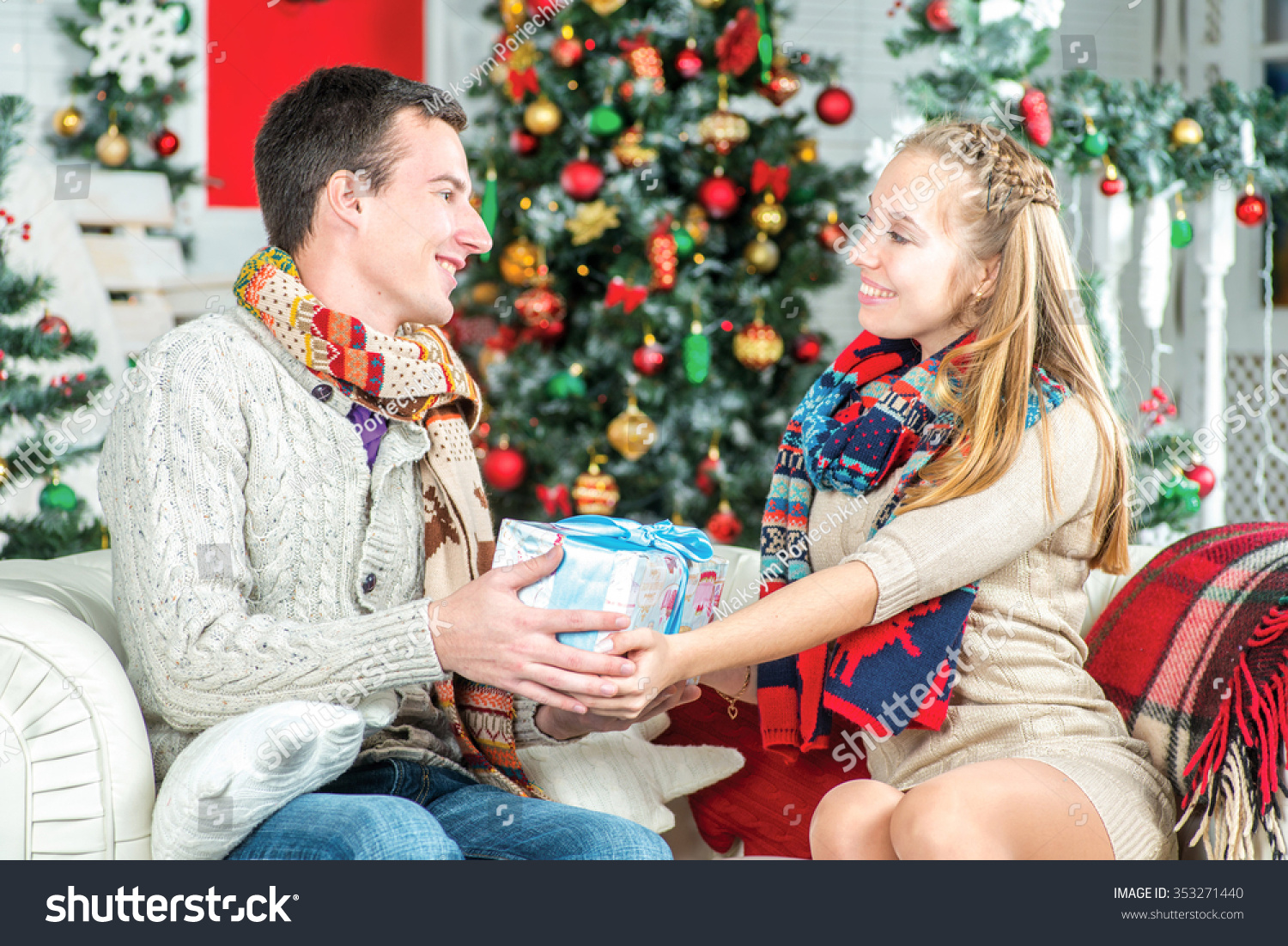 Family Christmas Gift Young Beautiful Man Stock Photo (Edit Now ...