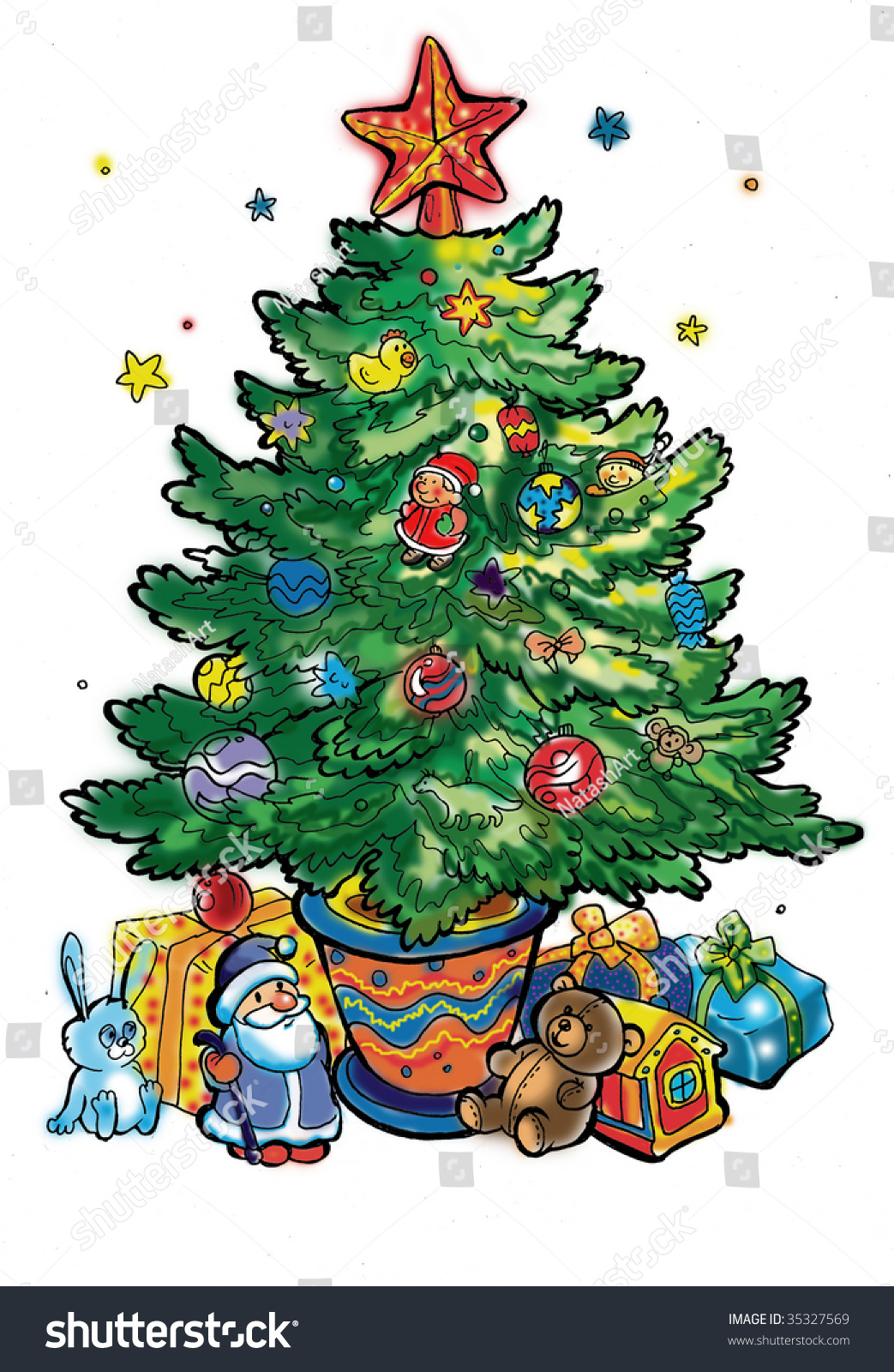 Christmas Toys Cartoon : New year tree cartoon many toys stock illustration