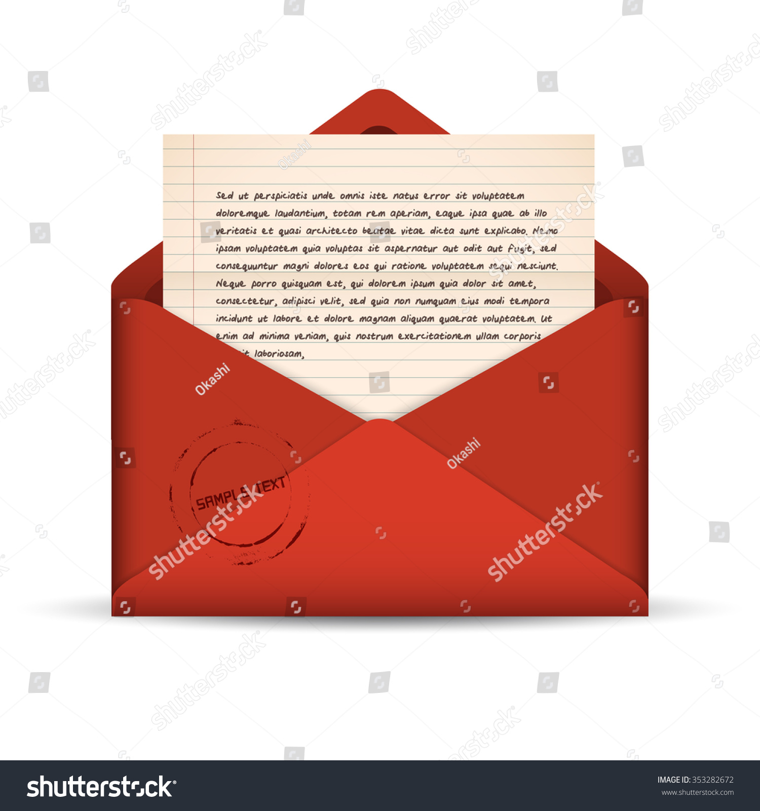 opened red envelope paper note template stock vector royalty free