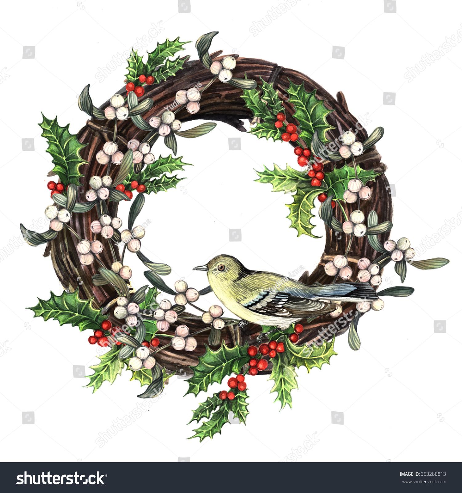 Watercolor Christmas Wreath Plants Birds Christmas Stock ...