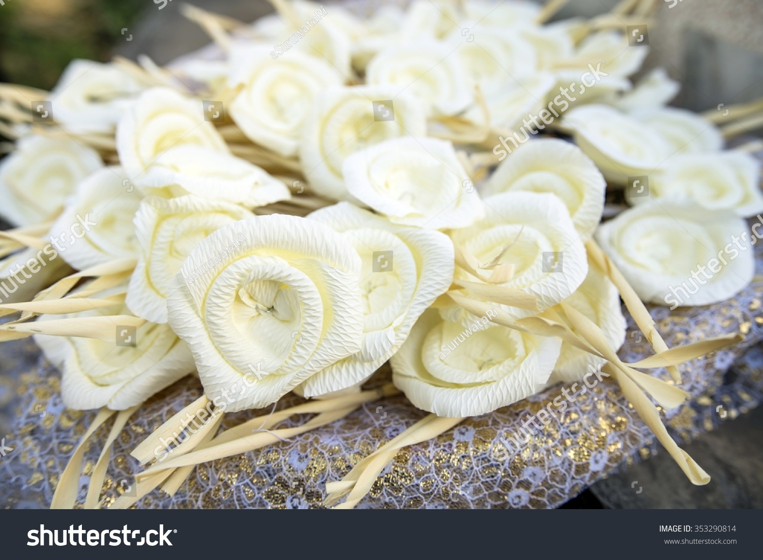 White artifical flowers used during funeral stock photo 353290814 white artifical flowers used during a funeral kind of wood flower to be izmirmasajfo Images
