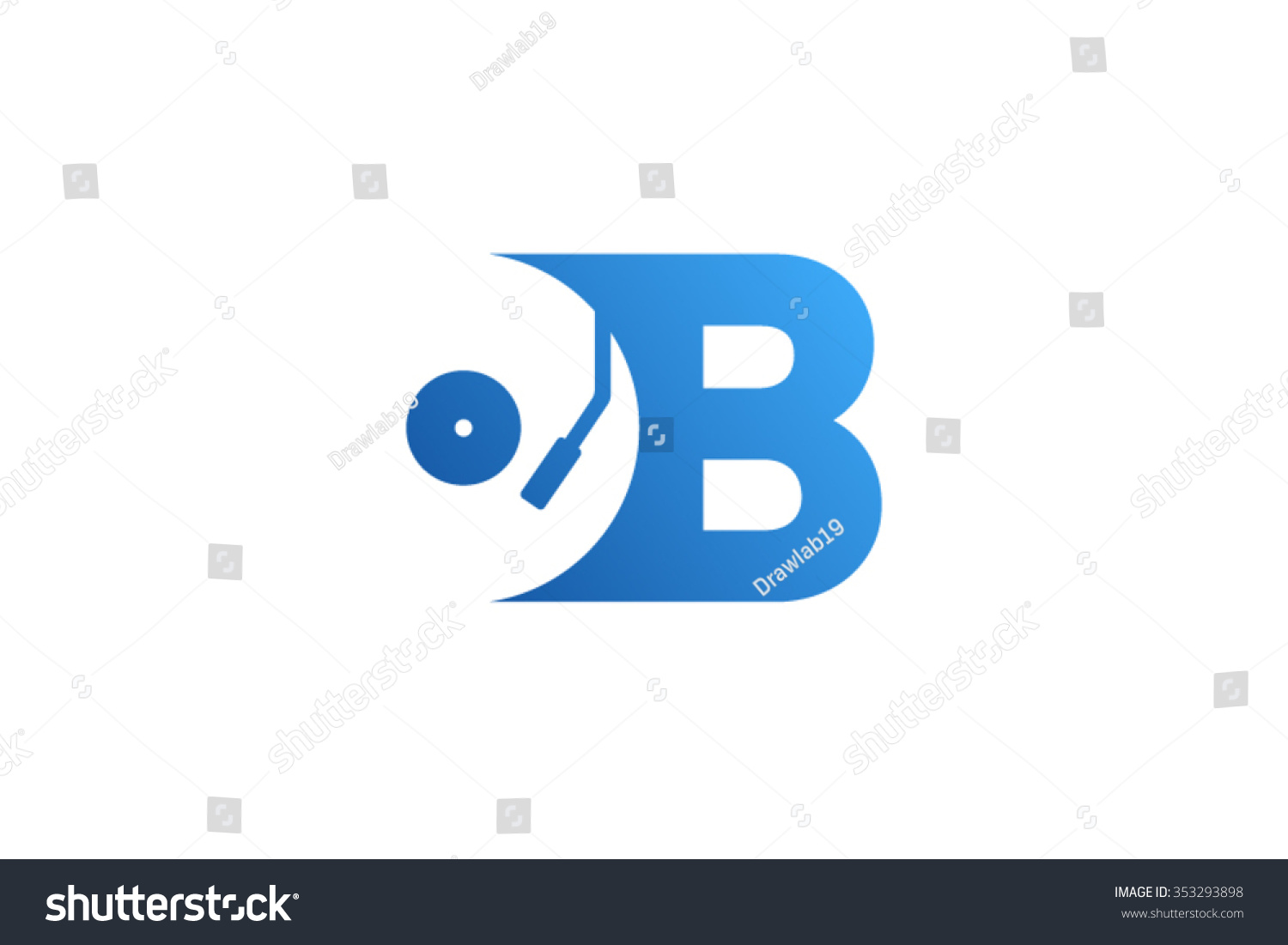 letter b logo record vinyl logo stock vector 353293898 shutterstock. Black Bedroom Furniture Sets. Home Design Ideas