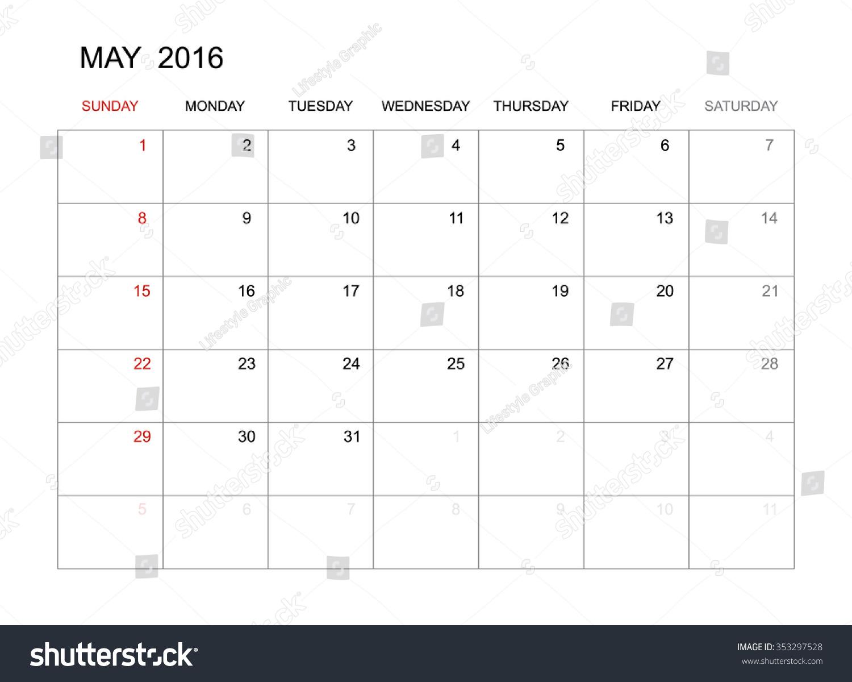 May Calendar Vector : May vector calendar template design for planning