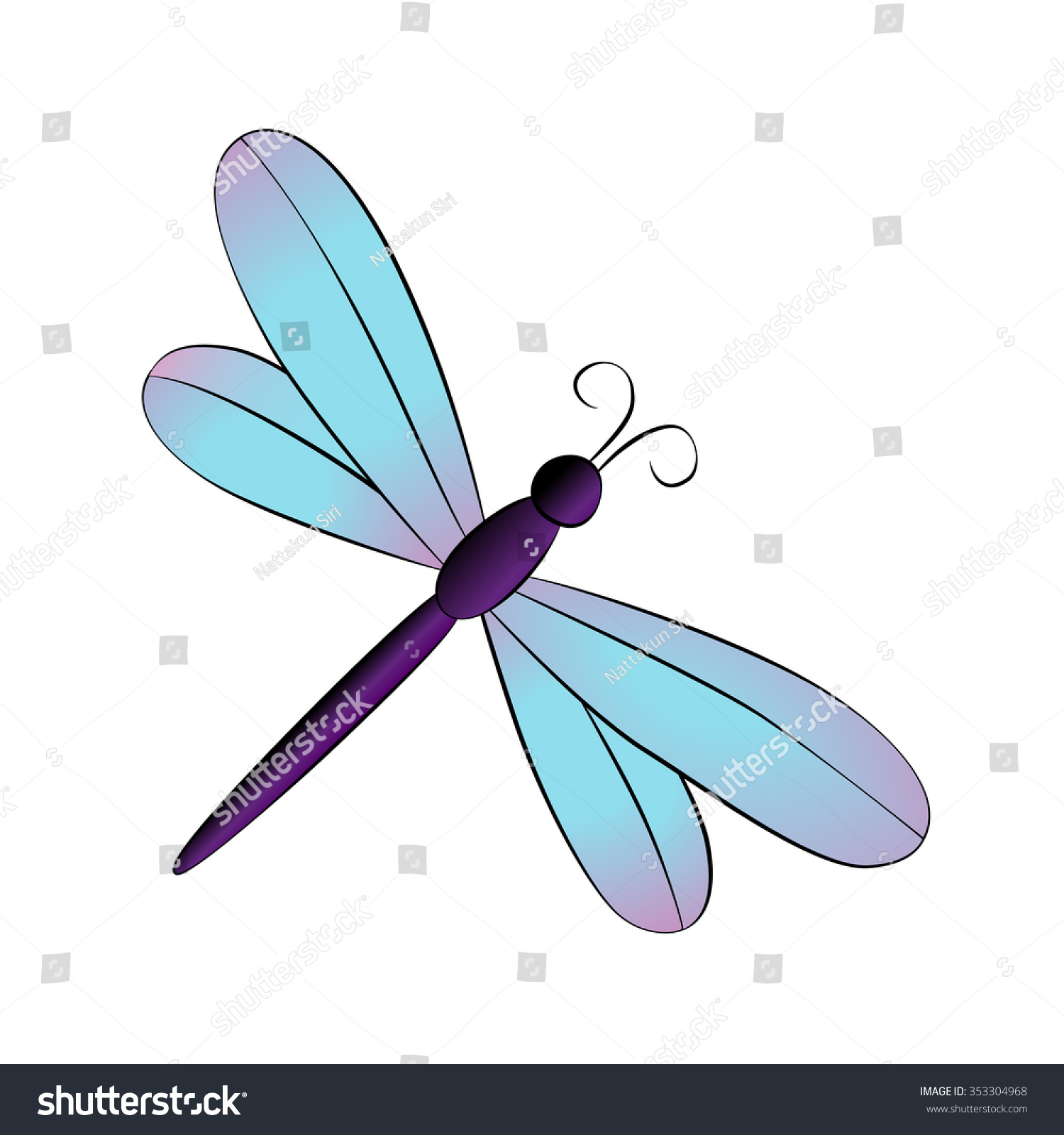 Cartoon Dragonfly Images Vector cartoon dragonfly on white background ...
