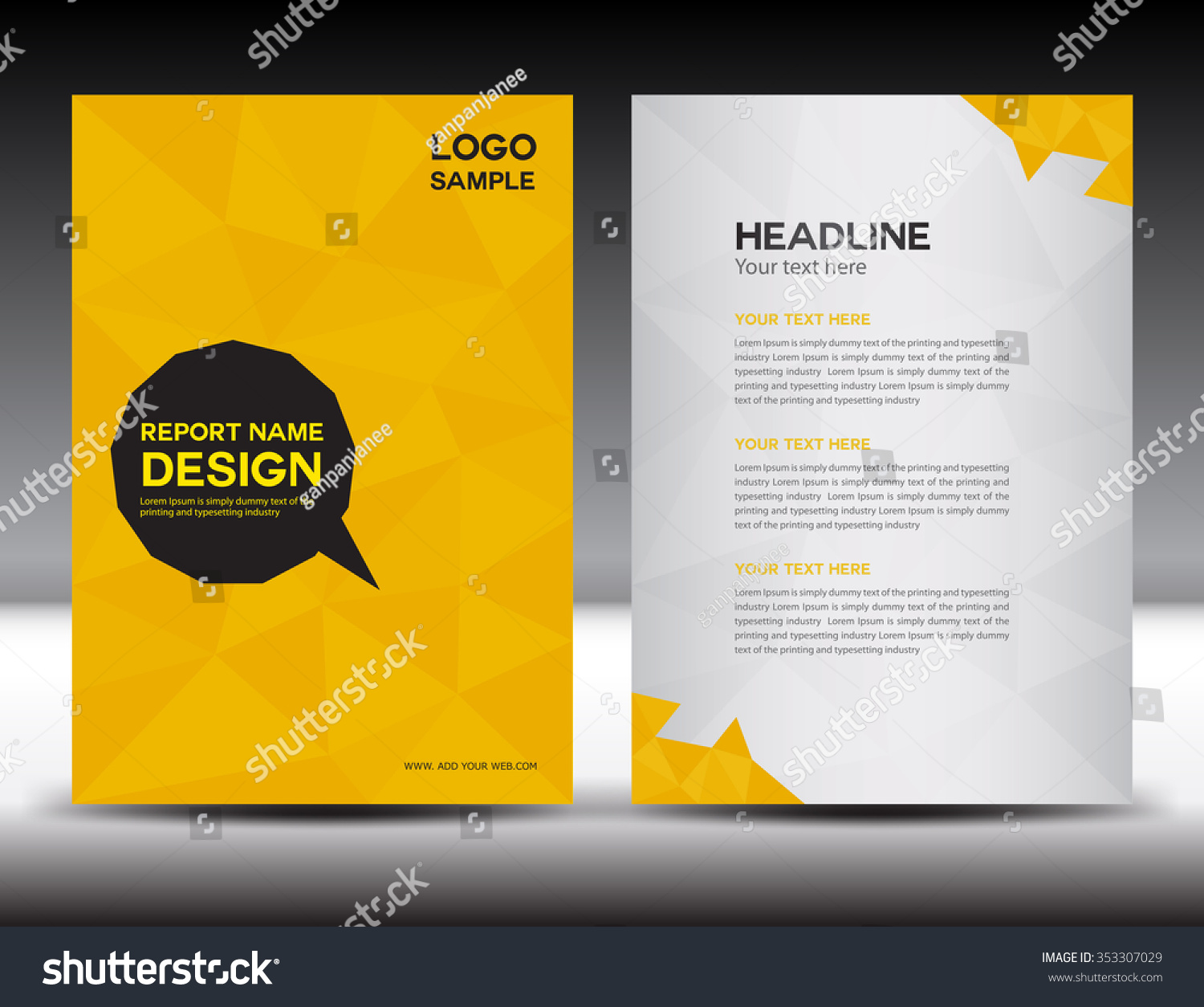 Yellow Book Cover Design : Yellow annual report vector illustration cover stock