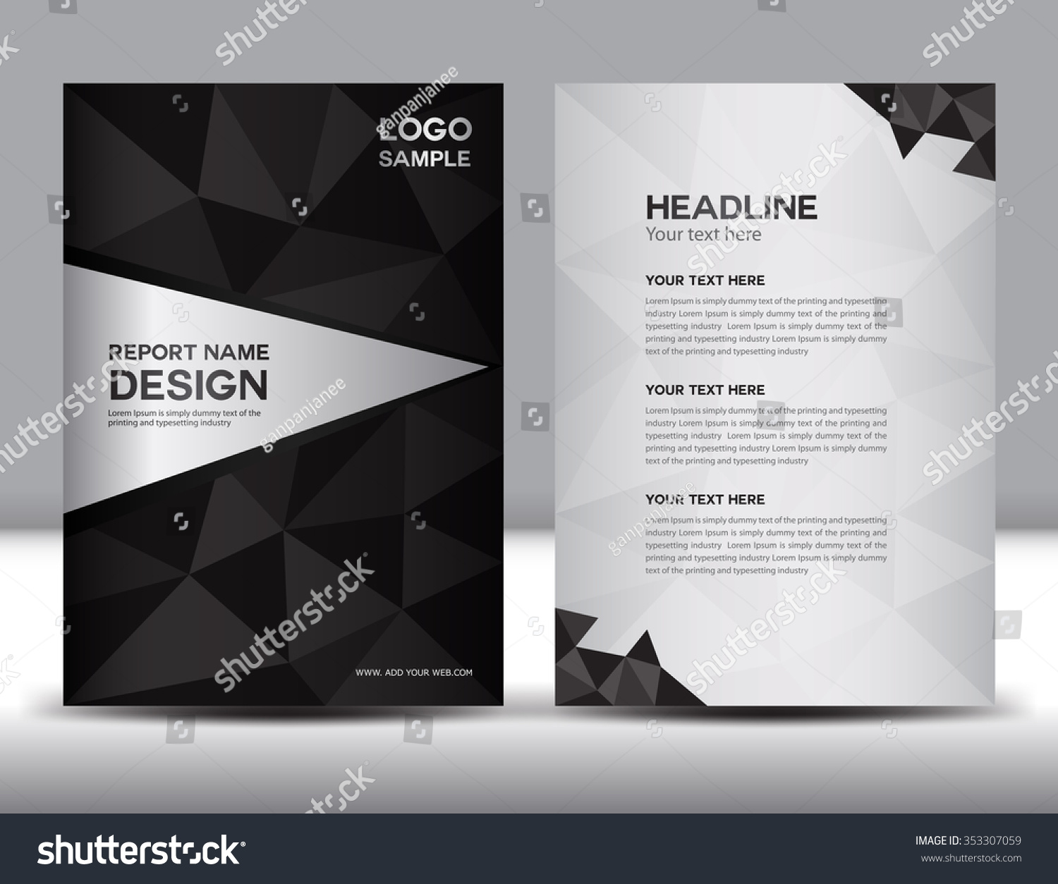 Black annual report vector illustration cover stock vector for Black brochure template