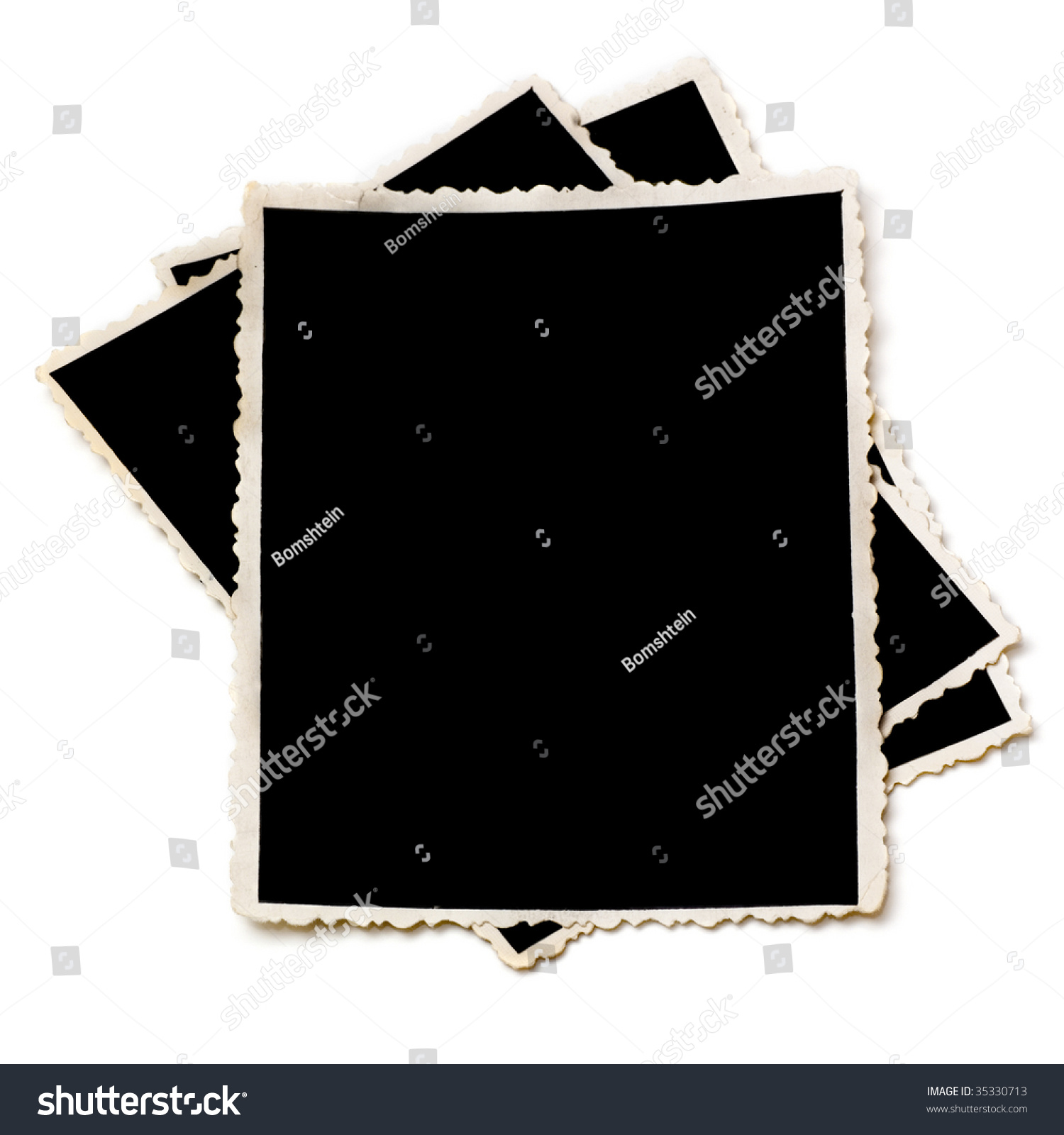 Old Photographs With Torn Edges Isolated On A White Stock