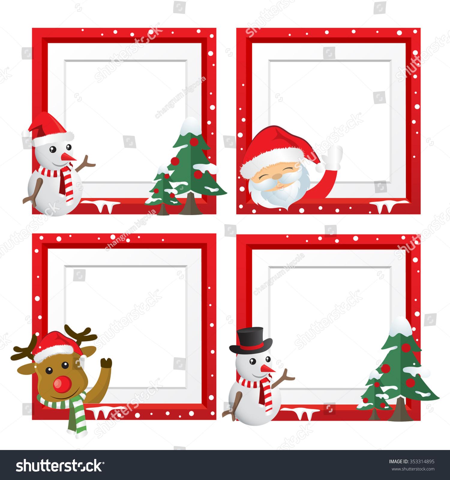 Set Christmas Framesvector Christmas Border Christmas