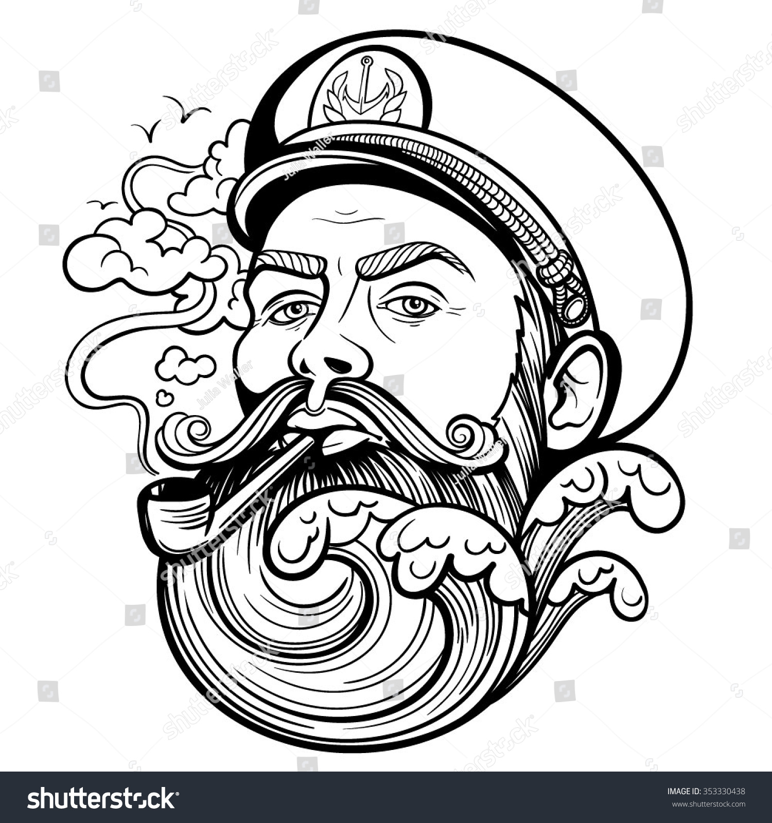 Illustration Tattoos: Vector Tattoo Black White Captain Illustration Stock