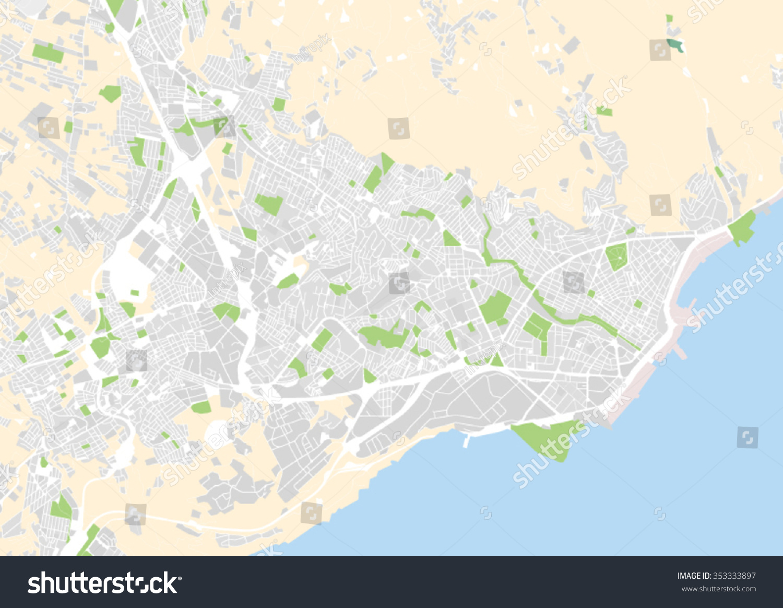 map of santa cruz de tenerife Vector City Map Santa Cruz De Stock Vector Royalty Free 353333897 map of santa cruz de tenerife