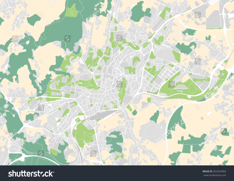 Vector City Map Santiago De Compostela Stock Vector 353333903