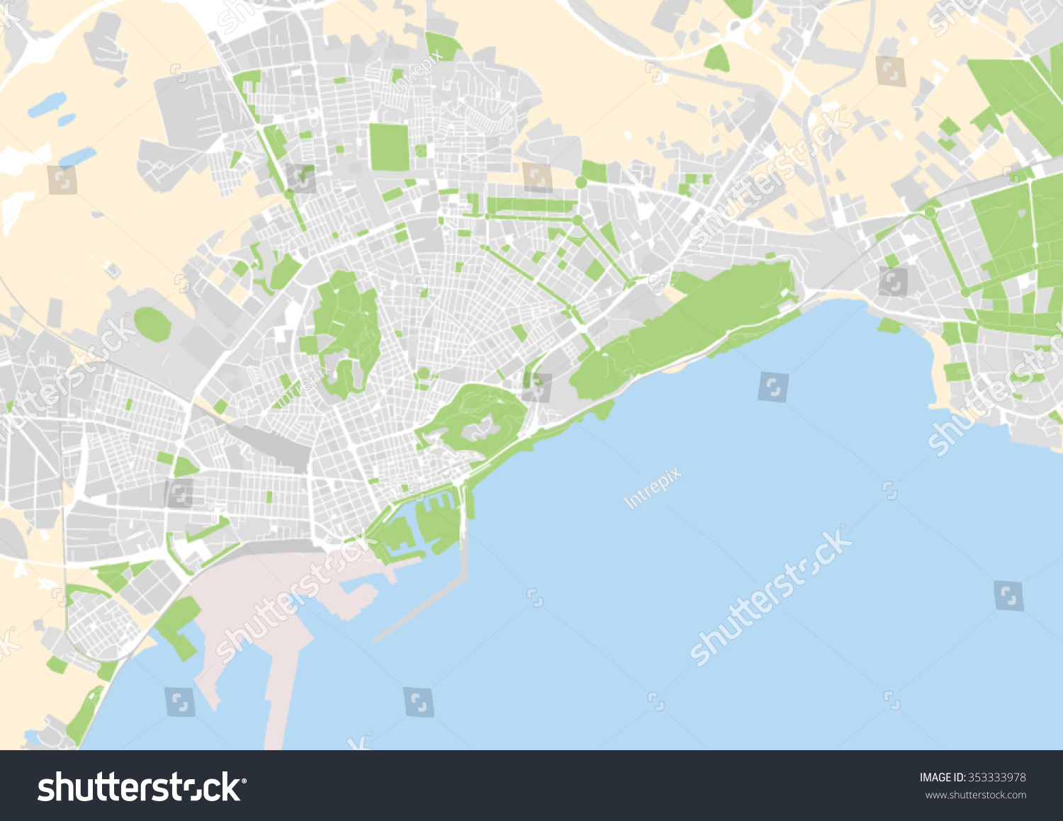 Vector City Map Alicante Spain Stock Vector 353333978 Shutterstock
