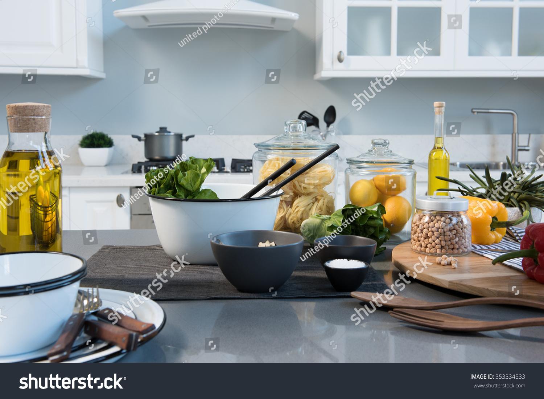 White Modern Kitchen Food Preparation Stock Photo (Royalty Free ...