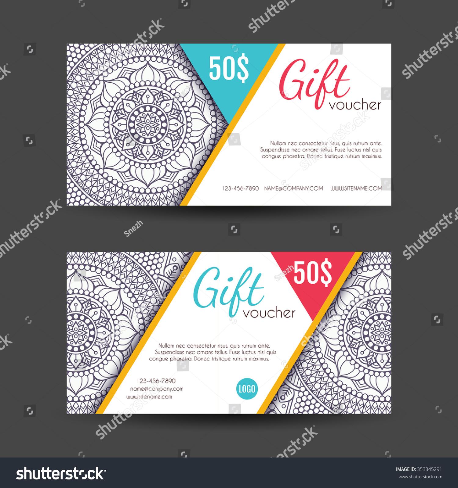 Voucher Business Card Vintage Decorative Elements Stock Vector ...