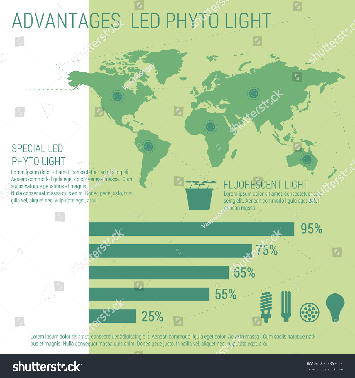 Vector infographic elements led lamp world stock vector 353353073 vector infographic elements led lamp with world map performance statistics by country gumiabroncs Choice Image