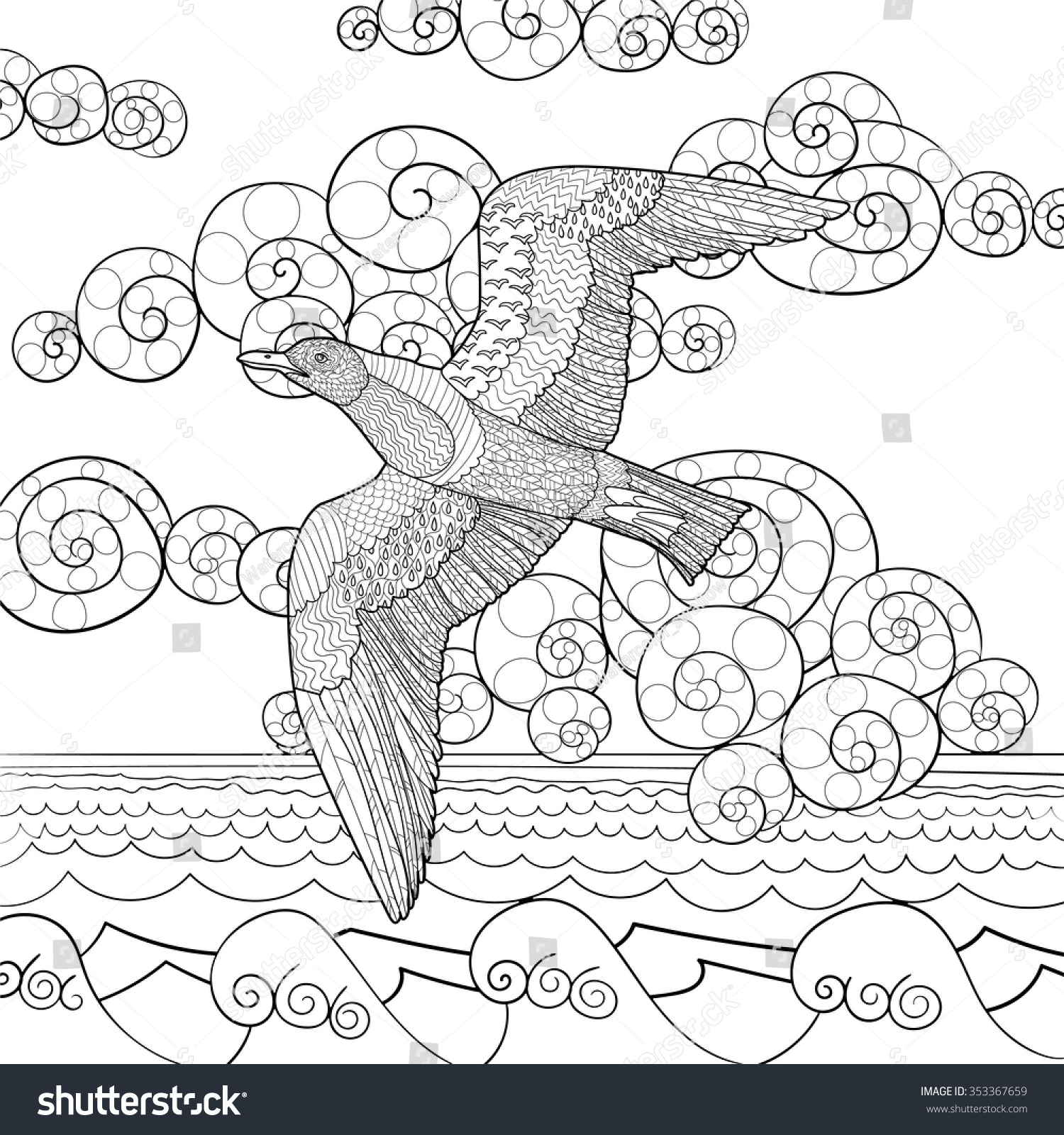 Stock vector ethnic animal doodle detail pattern killer whale - Flying Seagull With High Details Adult Antistress Coloring Page Black White Hand Drawn Doodle