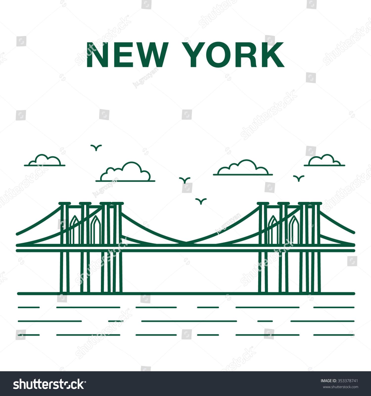 Line Art New York : Brooklyn bridge illustration made line art stock vector