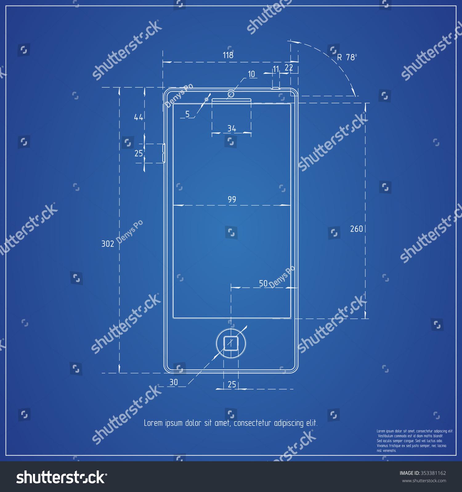 Blueprint smartphone vector de stock353381162 shutterstock malvernweather Image collections